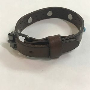 Jewelry - Leather Buckle Bracelet Cowhide Leather Turquoise